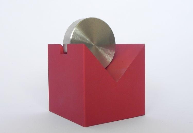Visitenkartenhalter Rot Aluminium Edelstahl